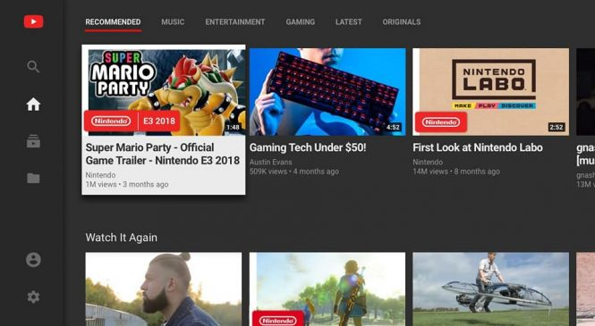 YouTube artık Nintendo Switch'de!